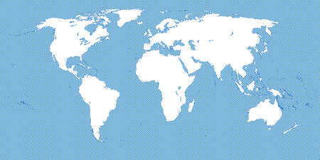 Checkered World Map Blue 3 Small Squares Illustration