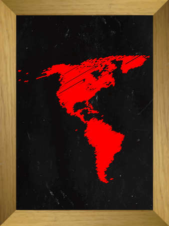 the americas: Americas Map Draw on a Chalkboard