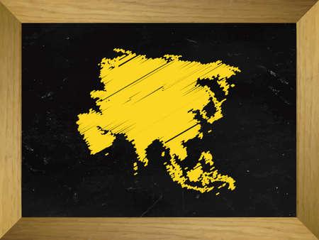 mundi: Asia Map Draw on a Chalkboard