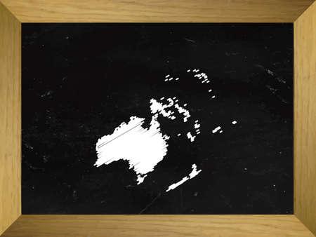 mundi: Oceania Map Draw on a Chalkboard Illustration