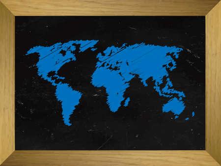 mundi: World Map Draw on a Chalkboard