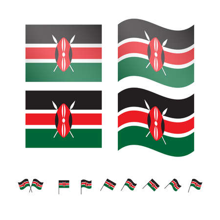 kenya: Kenya Flags EPS 10 Illustration