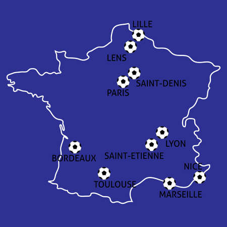 toulouse: France Football Cup Cities Map Balls