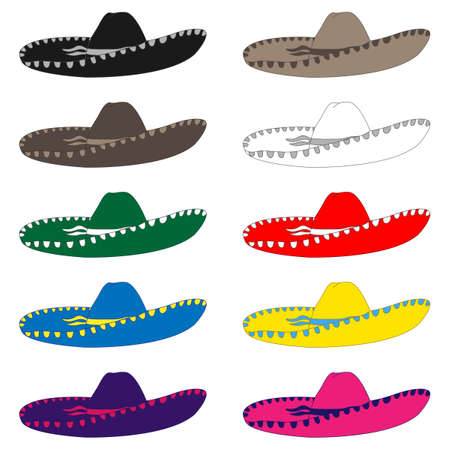 cancun: Mexican Hats in Different Colours