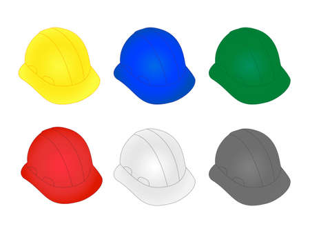 construction equipment: Construction Helmets in Different Colours Illustration