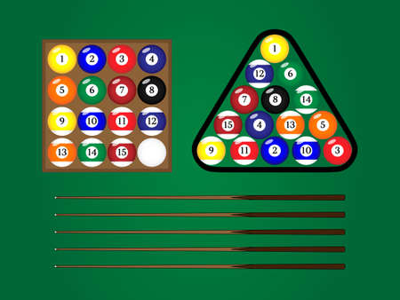 solids: Pool Cue Sticks With Balls