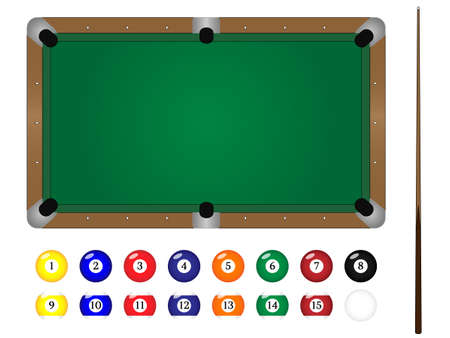 solids: Pool Table with Balls & Cue Stick Illustration