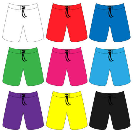 bather: Set of Boardshorts in Different Colours Illustration