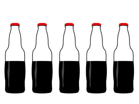 half full: Bottles of Cola Half Full Illustration