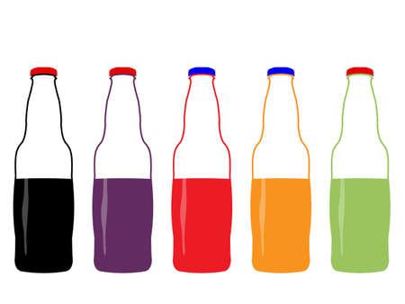 glass half full: Different Kind of Soda Half Full Bottles