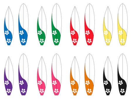 diving board: Surfboards with Hawaiian Flowers Illustration