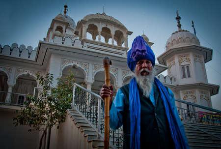 gurdwara: Sikh Nihang standing outside gurudwara Takht Shri Damdama Sahib, Bathinda, Punjab, India