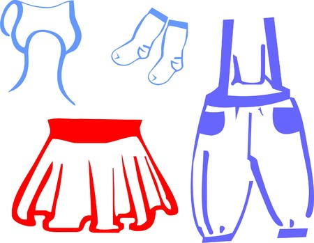jumpsuit: Childrens red skirt and blue jumpsuit pants with socks