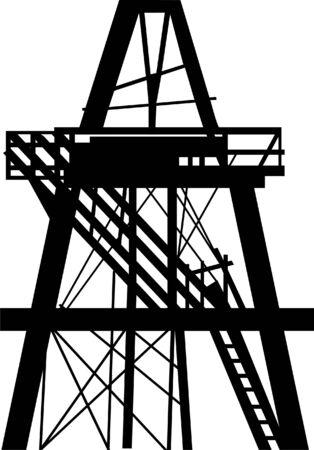 oilfield: Oil rig in the field Illustration