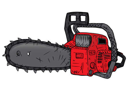 nag: Red chainsaw for cutting and harvesting of trees Stock Photo