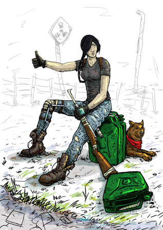 strip a dog: The girl catches the car hitchhiking in the post-apocalyptic desert
