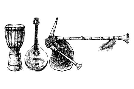 djembe: Black and white drawing of three traditional ethnic musical instruments