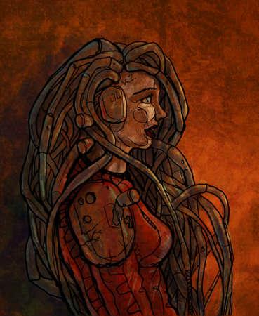 cyberpunk: Cyberpunk girl connected to the global network