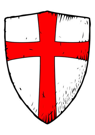 Picture of the medieval Templar shield with a red cross
