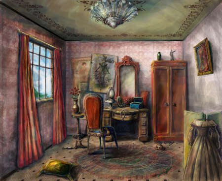 drawing room: Small dressing room in a Victorian theater
