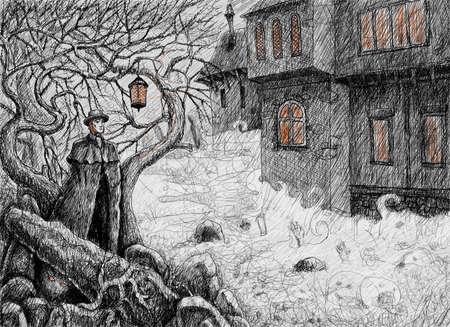 autumn scene: Irishman goes into the village at night on the eve of Samhain Stock Photo