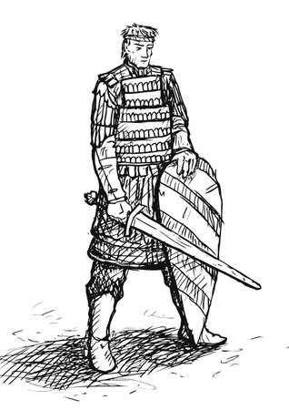 lamellar: Russian warrior in armor with sword and shield Stock Photo