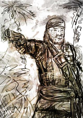 flint: Drawing of Old bearded Pirate takes aim of Flint Pistol