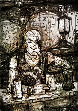 one eyed: One-eyed bald pirate innkeeper offers a mug of ale
