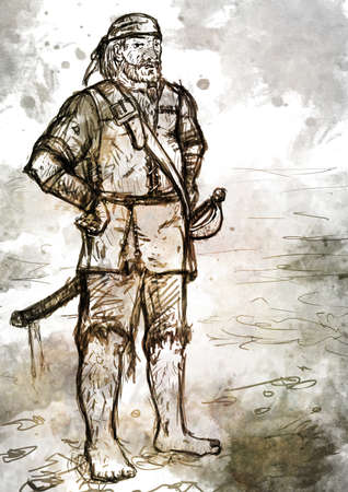unshaven: Drawing of old pirate armed with a sword standing barefoot on the beach