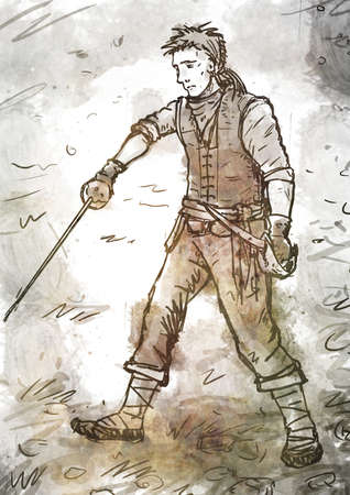 swordsman: Drawing of a young pirate swordsman with a sword and dagger standing on the ground Stock Photo