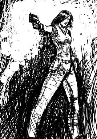 black and white drawing of harmonous and happy girl who aims a gun Stock Photo