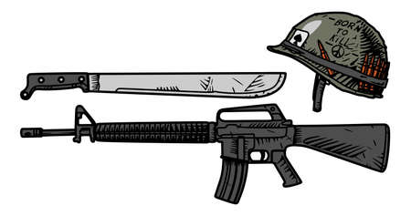 Vector drawing of US weapons during the Vietnam War Illustration
