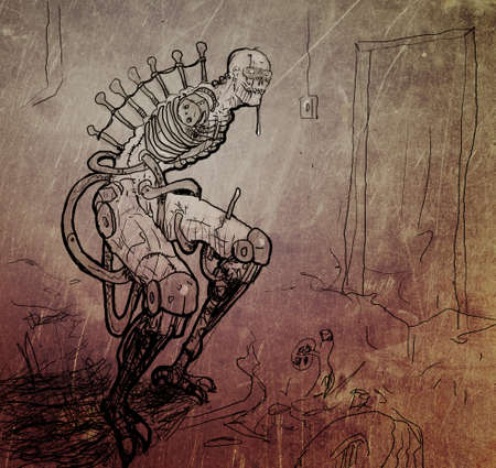 cyberpunk: Sketch of cyberpunk monster with metal and plastic in the body Stock Photo