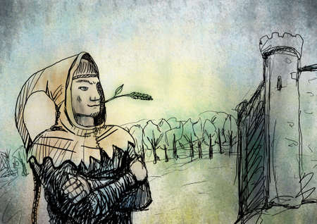 Sketch of medieval young man in a hood with a blade of grass in his mouth photo