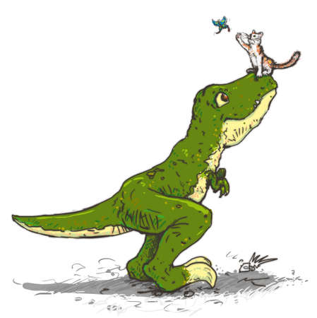 Drawing of a cat sitting on the T-Rex nose catches butterfly Фото со стока