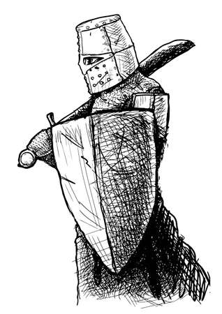 Black and white drawing of a Templar armed with falchion and shield Illustration