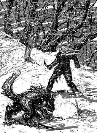 Man and wolf ready to fight at night in the snowy forest photo