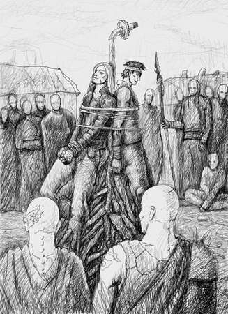 Two men tied to a stake by savages to be burned at the stake
