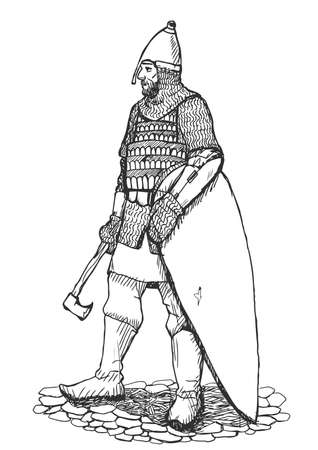 national hero: Russian warrior standing in armor with axe and shield