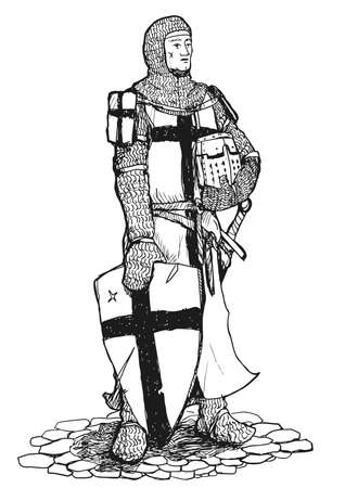 period costume: Black and white drawing of standing Crusader armed with sword, helmet and shield