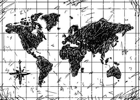 Black and White Vector Sketch of Grunge Map