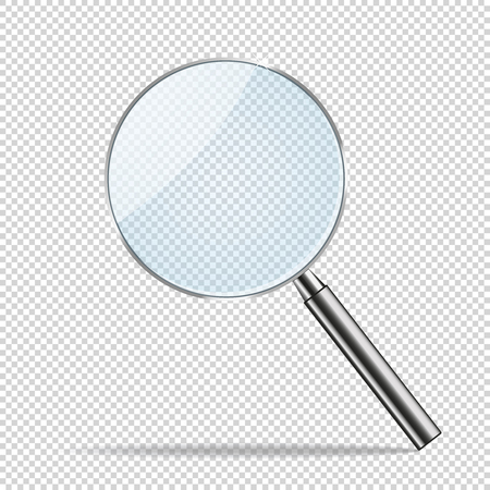 Magnifier transparent realistic vector. Magnifying lens. Magnifier with metallic handle.