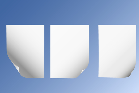 folded paper: Beautiful concept of sheets of  paper with  curved edge set. Illustration