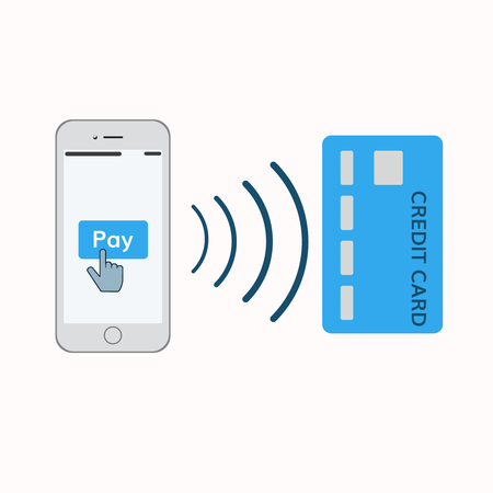 smart card: mobile payments illustration . Mobile phone with pay button and credit card