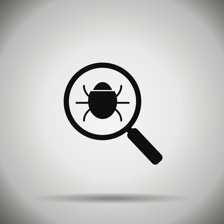 Search bug icon. Virus symbol  magnifier and bug. Illustration