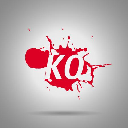 Combo fatality ko ikona, plusk krwi i symbol combo. Ilustracje wektorowe