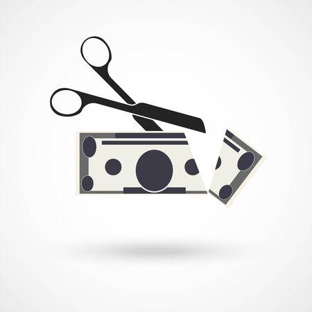 half price: Scissors cut money illustration.