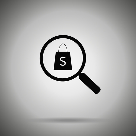 searching shop icon . Magnifier and shopping bag