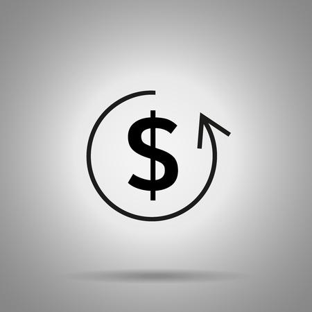 reverse: refund icon. Dollar symbol and circle arrow