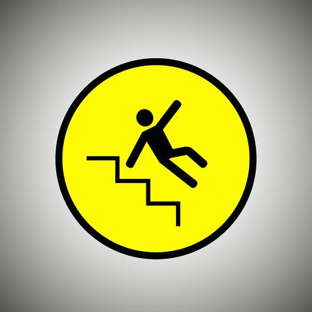 slip homme: escaliers Glissant signe. homme tombant sur le vecteur escalier